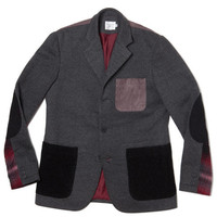 3 Button Contrast Knit Blazer-Grey Brushed Knit