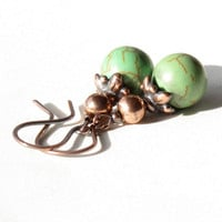 Green dangle earrings - turquoise stone bead & copper