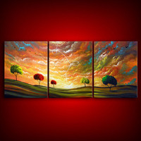 ORIGINAL Landscape painting large painting tree by mattsart