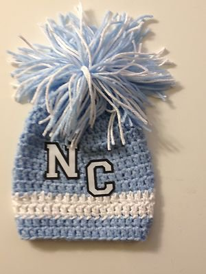University of North Carolina Tar Heels Crochet Baby Beanie Hat