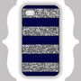 iPhone  Case- Navy/Silver Glitter Stripe- iPhone 4 Case, iPhone 4s Case, iPhone 5 Case, Monogram Case, Personalized iPhone Case
