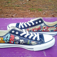 Spiderman and Lobo - DC and Marvel - Comic Book Shoes - Custom Converse