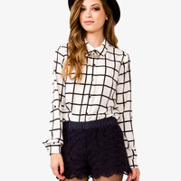 Grid Pattern Georgette Shirt