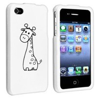 Amazon.com: Apple iPhone 4 4S White Rubber Hard Case Snap on 2 piece Black Cute Giraffe: Cell Phones & Accessories