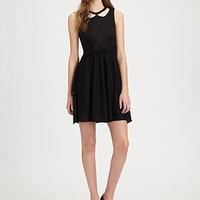 RED Valentino - Lace-Detail Wool Dress - Saks.com