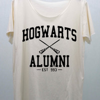 Hogwarts Alumni EST 993 T Shirts Cream handmade silk screen printing Size M, L