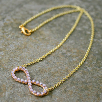 Lavender Purple Infinity Necklace Wire Wrapped Gold Brass and Chain MADE TO ORDER