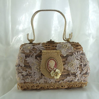 Formal Basket Purse, Haute Couture, Vintage with Antique Cameo Compact, Unique, Classic Beauty Handbag, Ladylike Accessory, LAYAWAY PLANS