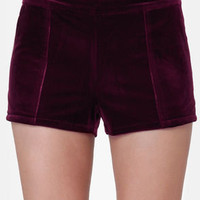 Lucca Couture I'll Be There Burgundy Shorts