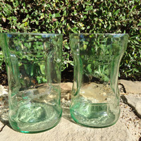 Bacardi Drinking Glasses made from Large Recycled Bacardi Rum Bottles with Handles  Set of 2