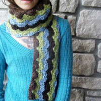 Long Organic Cotton Scarf in Earth Tones / Blue, Green, Brown