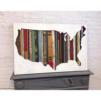 Map of America Wall Sculpture, Found Wood Assemblage, American Souvenir Collection, In Stock Ready to Ship