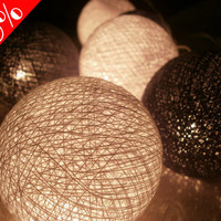 20 x Black and White color cotton balls string light with 3 m. wire and adapter for room and party decoration