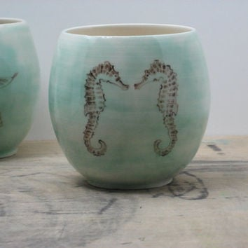 Porcelain Green Sea Horse Tumbler by FaithAdamsCeramics on Etsy