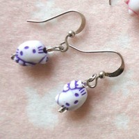 Children Jewellery Hello Kitty Purple Head Girls Earrings