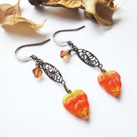 Autumn Leaf Copper Filigree Fall Red Orange Brown Crystals Earrings