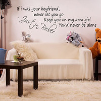 Justin Bieber Boyfriend Lyrics Wall Sticker Bedroom Decal Vinyl Art Girls