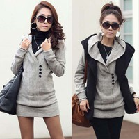 Casual Womens Long Top Knitting Sweater Free Style Buttons Hooded Knitwear