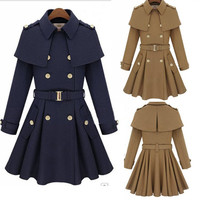 HANDMADE Military Fashion Sexy Women Luxury Nylon Trench Coat Slim Long Jacket