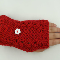 Fingerless Gloves in Red Accessories Fashion Winter by toppytoppy