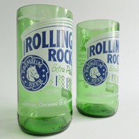 Rolling Rock Beer Bottle Tumbler Drinking Glasses Set of 2