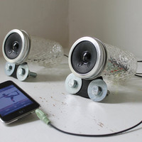 Mason Jar Speakers - Unique UpCycled Crystal Pattern Computer - Game Consoles - iPhone - IPOD - MP3 - Amplified Speaker Set - Handmade Bases
