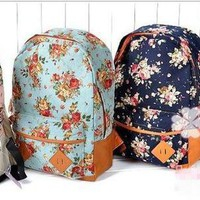 Fashion Women girl lady Vintage Cute Flower School Book Campus Bag Backpack