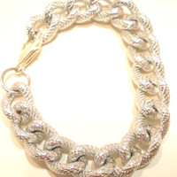 Metallic Silver Large Thick Chain Link Bracelet With Lobster Clasp