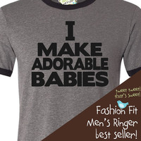 personalized dad shirt-funny, hip and oh so trendy new father/new daddy gift ORIGINAL design ADORABLE BABIES ringer t shirt