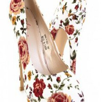 White Floral Printed Almond Shape Close Toes Platform @ Amiclubwear Heel Shoes online store sales:Stiletto Heel Shoes,High Heel Pumps,Womens High Heel Shoes,Prom Shoes,Summer Shoes,Spring Shoes,Spool Heel,Womens Dress Shoes,Prom Heels,Prom Pumps,High Heel