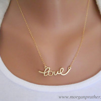 Cursive Love Necklace in Gold - Dainty Love Pendant Charm - Gold Filled Chain - Perfect Gift - morganprather