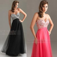 Black Rhinestone Bodice Evening Dress Prom Gown stock size6-8-10-12-14-16 custom
