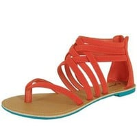 Amazon.com: Qupid Athena-566 Coral Strappy Gladiator Flat Sandal: Shoes