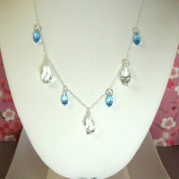 Aquamarine and clear Swarovski crystal sterling silver necklace