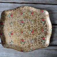 Gold & Pink Rose Scalloped Tray by OceanSwept on Etsy