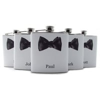 Set of 5 Bow Tie Liquor Hip Flasks for by thehairofthedog on Etsy