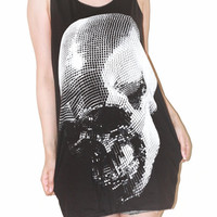 Mirror Skull Halloween Charcoal Black Tank Top Sleeveless Shirt Women Top Vest Tunic Indie Punk Rock T-Shirt Size M