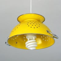 yellow colander pendant lamp with white cord by boeliedesign