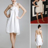 Taffeta A-line Halter Knee-length Cocktail Dress inspired by Vanessa in Gossip Girl co1117 - Celebrity Dresses - Apparel