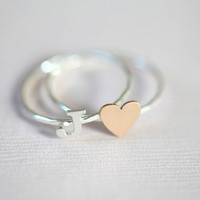 Secret love stackable rings  gold filled tiny heart by moncadeau