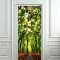 Door wall sticker cover bamboo forest green trees way 30x79&quot;