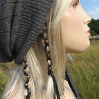 2 Ponytail Holders  Black Leather Hair Wrap with Glass Beads, Feather Leather Extensions You Choose Colors