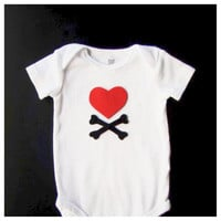 Heart and Crossbones Valentines Day Bodysuit