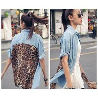 Vintage Fashion Leopard Women Top S Button Shirt Blouse Retro Denim Chiffon Tops