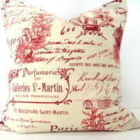 Pillow Cover French Red Sand Beige Script Coral by PookieandJack