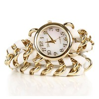 White Chain Wrap Watch
