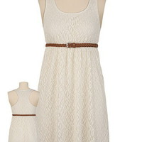 Braided Belted Lace Dress
