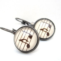 Sheet Music Earrings from Vintage Petite by CarpeDiemHandmade
