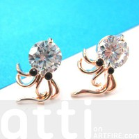 Small Octopus Squid Rhinestone Sea Animal Stud Earrings in Gold
