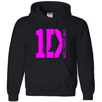 ONE DIRECTION 1D HOODED SWEATSHIRT S-5XL SIZES PINK LOGO HOODIE SHIRT